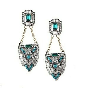 Deco Antique Inspired Emerald & Turquoise Earrings